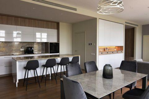 Virtuvės ir svetainės baldų harmonija